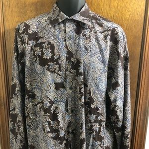 Michael Kors Brown Paisley Button Down Shirt Large